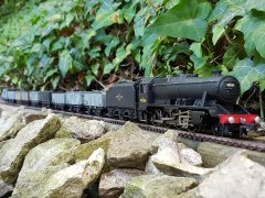 8F on coal empties, Central Wales line