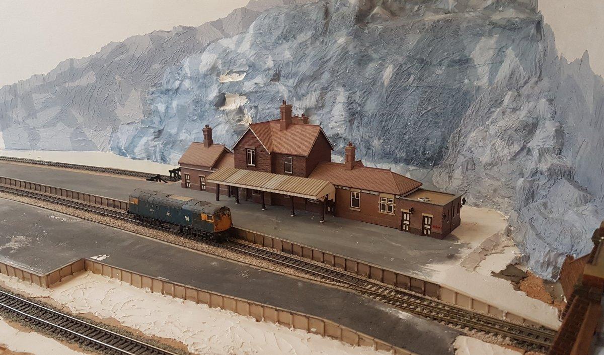 Construction of mountain backdrop
